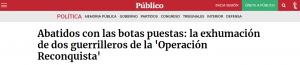 Artículo en Público sobre la sobre la exhumación de dos guerrileros en Fuencalderas (Zaragoza).