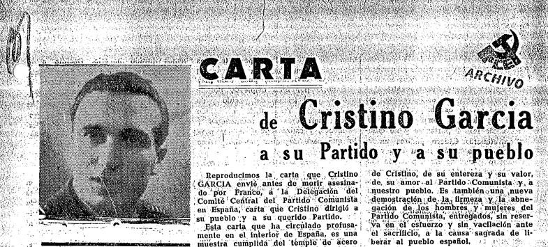 CRISTINO GARCÍA, MUNDO OBRERO