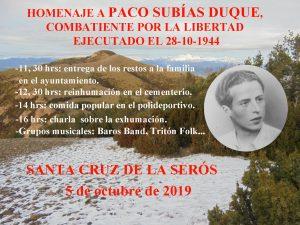 Guerrilla en Santa Cruz de la Serós. Homenaje-reinhumación de Paco Subías