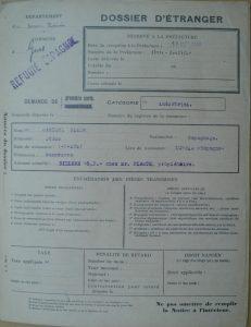 Jesús Cardiel Allué. Dossier de extranjero-refugiado español.