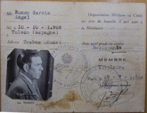 Ángel Ronco García. Carnet antiguo resistente.