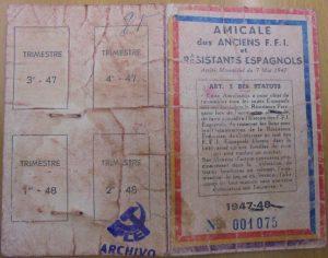 Carnet de pertenencia a la Amicale de Antiguos FFI