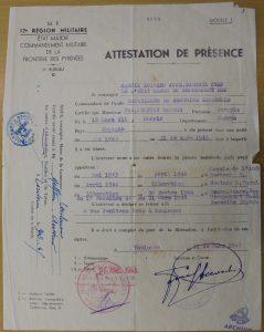 Melitón Barros. Certificado de pertenencia a la Resisitencia