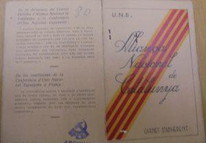 Manuel Moreno Mauricio. Carnet de adherente ANCA-UNE-1.