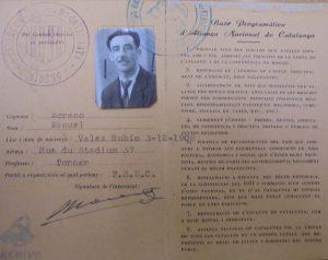 Manuel Morenomauricio. Carnet de adherente ANCA-UNE-2.