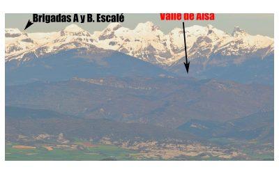 Maquis y Pirineo. Fotografía panorámica con las rutas de la guerrilla.