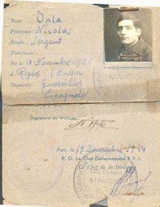 Nicolas Opla, carnet FFI-UNE-2.