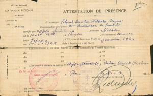 Nicolás Opla, certificado de pertenencia al maquis.
