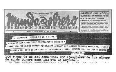 Noticias relacionadas con la guerrilla del Pirineo occidental aparecidas en la edición francesa de MUNDO OBRERO (1946-1949).