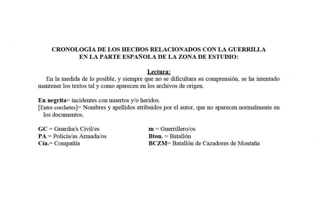 Cronología de la guerrilla, actualizada.