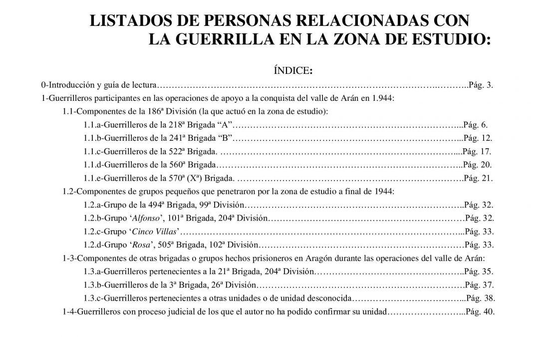 Listados de personas relacionadas con la guerrilla. Anexo nº 7 de CUANDO LOS MAQUIS, actualizado.