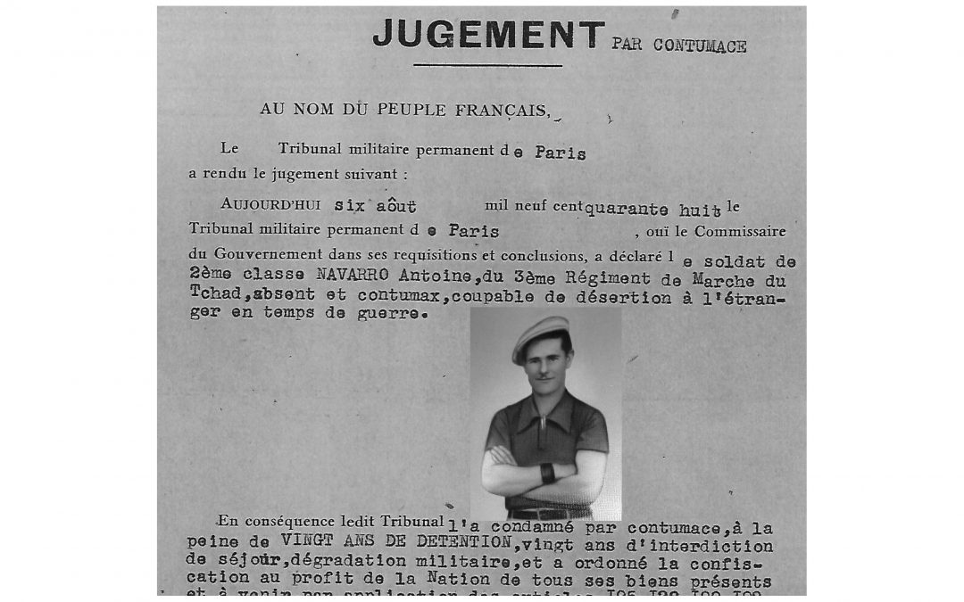 Antonio Navarro Beamonte, condena como desertor del 3er Regimiento de Marcha del Chad, 'La nueve'.